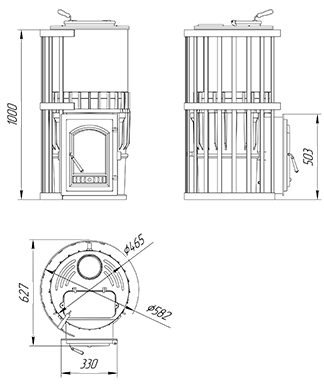 Чугунная  банная печь KALEDO ANTIC KA185/2