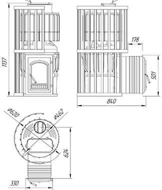 Чугунная печь с закрытой каменкой KALEDO EVOLUTION KE2218/3