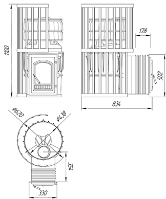 Чугунная печь KALEDO MODERN  KM3010/3