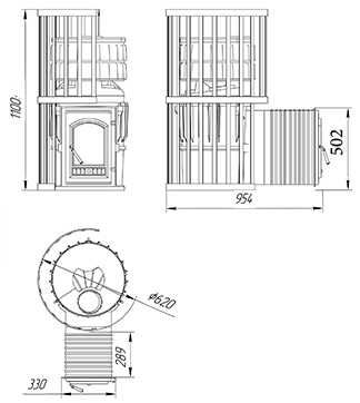 Чугунная банная печь KALEDO MODERN L KM4022/3-80