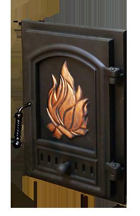 Дверь MODERN с декоративной чугунной заставкой для банной печи KALEDO